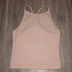 Pink and white stripes halter top